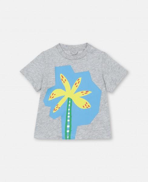T-Shirt mit Palmenprint Grau
