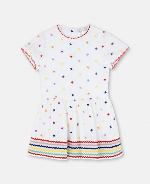 Kleid mit aufgestickten Sternen Weiß