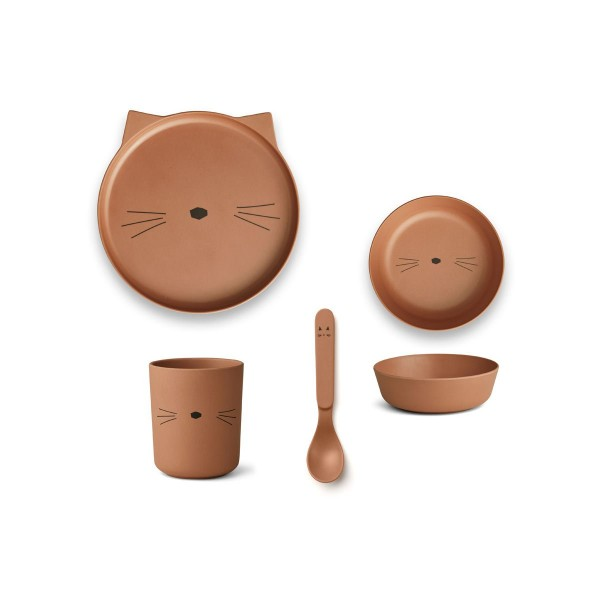Geschirr-Set aus Bambus Cat Terracotta