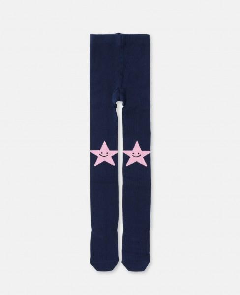 Strumpfhose mit lächelenden Sternen Blau