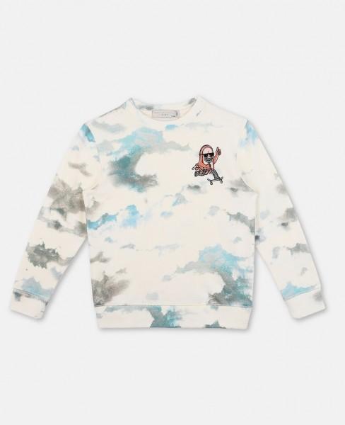 Sweatshirt Biz mit Wolkenprint Weiss