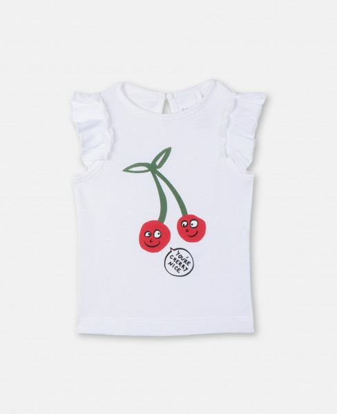 T-Shirt mit Kirschenprint Weiß