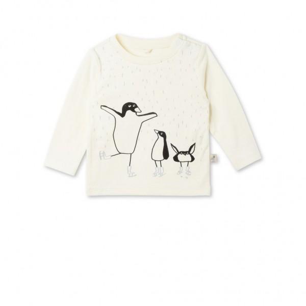 Langarmshirt Georgie mit Pinguinprint Creme