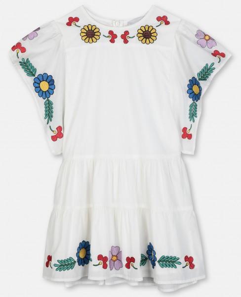 Kimono Kleid mit Blumenstickerei Weiss