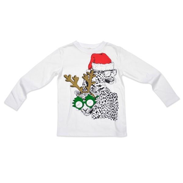 Langarmshirt mit Weihnachtsleodruck Weiss