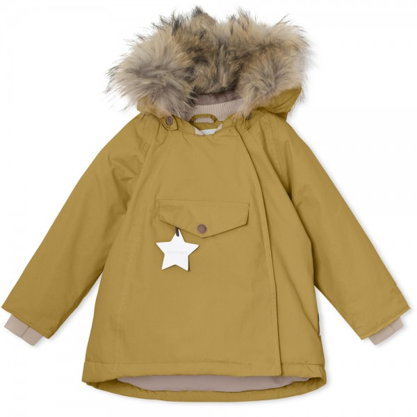 Winterjacke Wang mit Fell Dried Tobacco