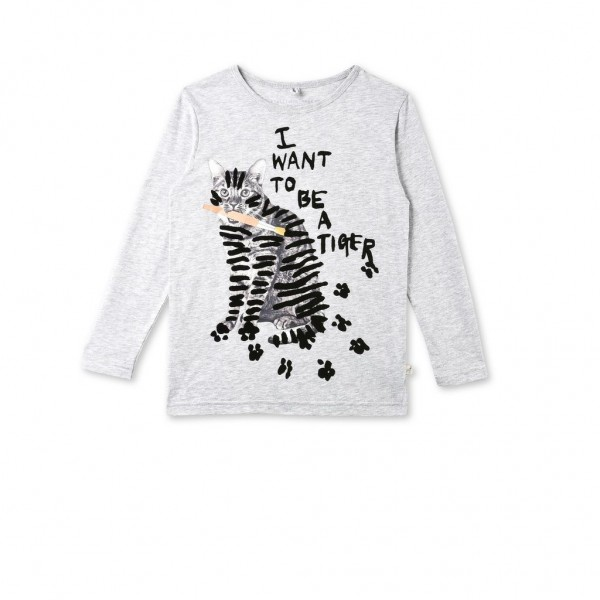 Langarmshirt Bella mit Katzenprint Grau