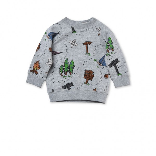 Sweatshirt Billy Baby mit Lagerfeuermotiven Grau