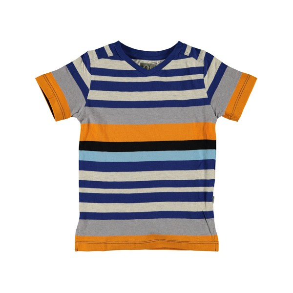 T-Shirt Mikey bunt gestreift blau-orange