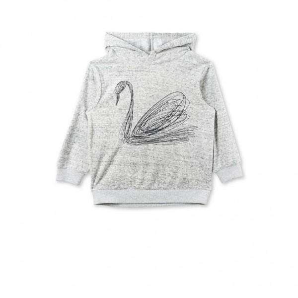 Kapuzensweatshirt Ice bestickt mit einem Schwan Grau