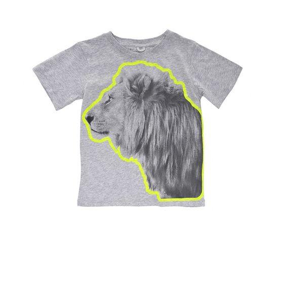 T-Shirt Arlo mit Löwenprint, grau