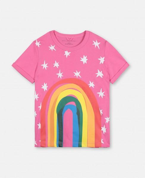 T-Shirt mit Regenbogenprint Pink