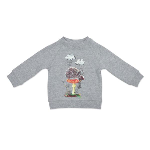 Sweatshirt mit Igel- und Pilzdruck graumeliert