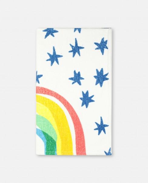 Handtuch mit Regenbogen- und Sternenprint Weiss