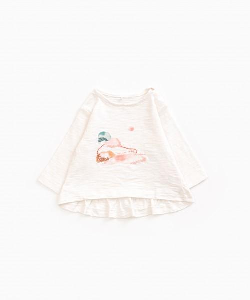 Langarmshirt aus Bio-Baumwolle mit Volant Pearl