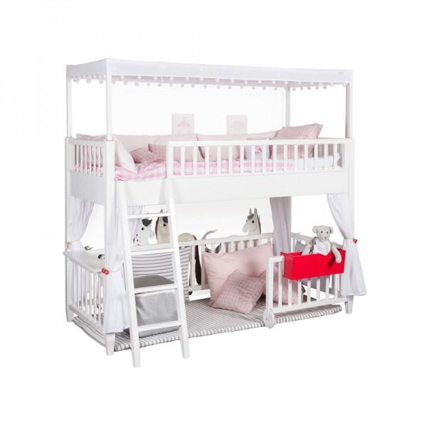 Gardinenpaar für das Spielbett, Häkelblümchen für Mädchen